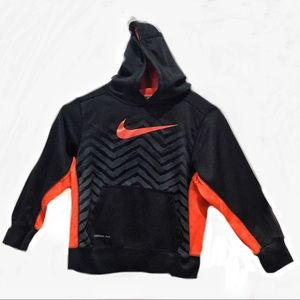 Nike Thermal-Fit Big Boys S(8) Black Orange Hoodie